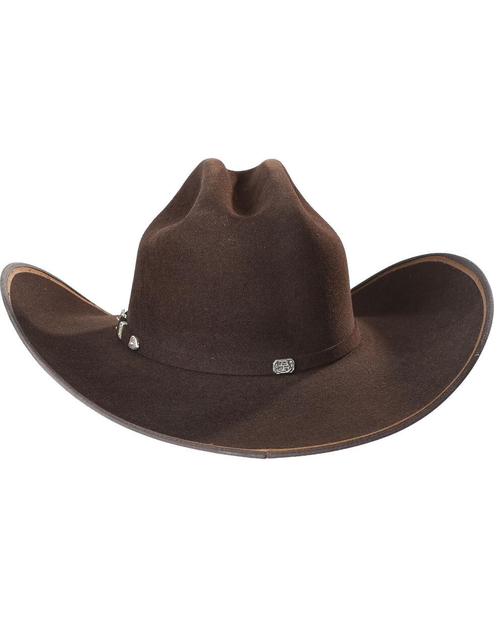 Justin Bent Rail Men's Chocolate 7X Hooked 2 Felt Cowboy Hat, Chocolate, hi-res