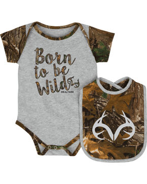 Realtree Infant Boys' Born to be Wild Onesie and Bib Set, Grey, hi-res