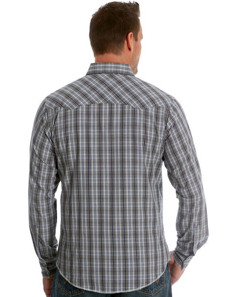Wrangler Men's Navy/Brown Plaid Fashion Long Sleeve Snap Shirt - Tall, Navy, hi-res