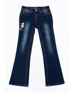 Shyanne Girls' Floral Embroidered Dark Boot Jeans , Blue, hi-res