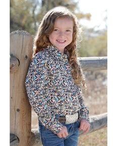 Cruel Girl Girls' Print Snap Long Sleeve Western Shirt, Purple, hi-res