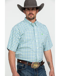 Cinch Men's Med Plaid Button Short Sleeve Western Shirt , Cream, hi-res