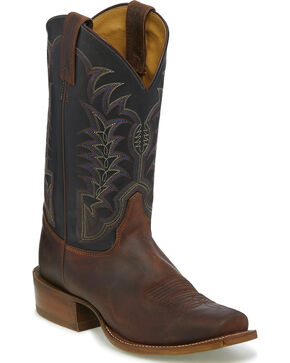 Justin Men's Briar Gaucho Stitched Cowboy Boots - Square Toe, Brown, hi-res