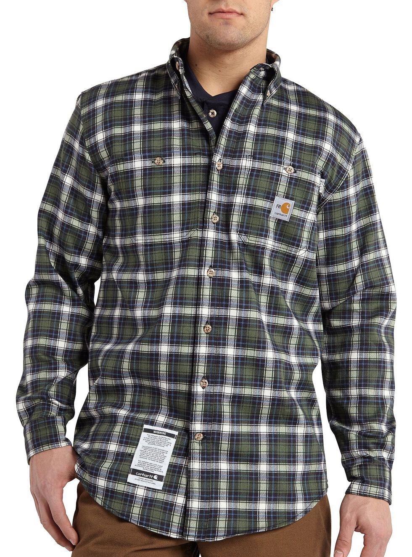 Carhartt Flame Resistant Classic Plaid Shirt - Big & Tall, Moss, hi-res