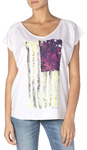 Miss Me Women's Flag Graphic Tee, Off White, hi-res