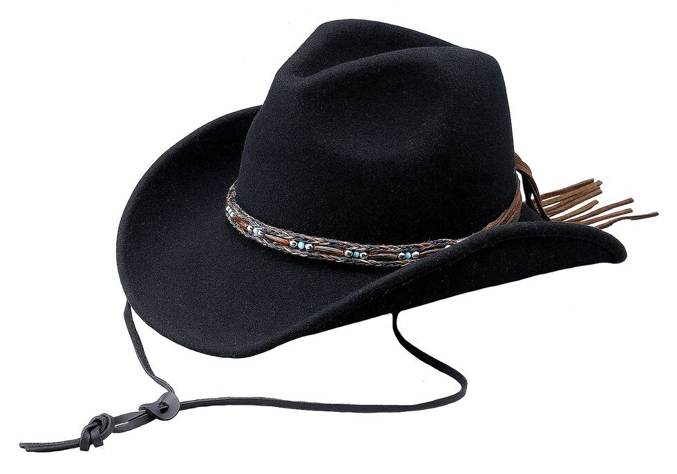 Outback Trading Co. Aubrey UPF50 Sun Protection Crushable Wool Hat, Black, hi-res