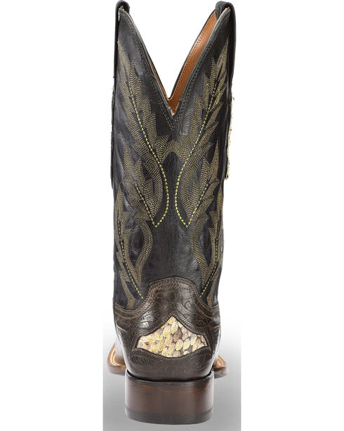 Lucchese Men's Handmade Grey Bartley Ostrich and Snake Boots - Square Toe , Grey, hi-res