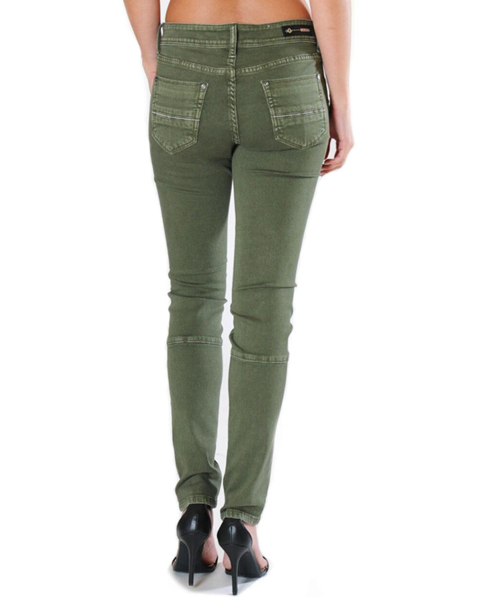 Grace in LA Women's Green Moto Jeans - Skinny , Green, hi-res