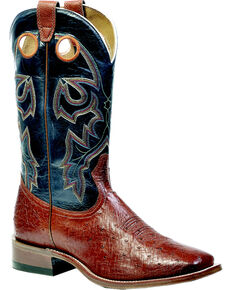 Boulet Men's Smooth Brandy Ostrich Boots - Square Toe, Brandy, hi-res
