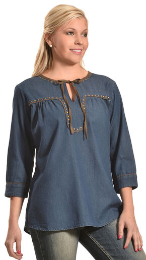 New Direction Women's Denim Faux Suede Peasant Top - Plus Sizes, Indigo, hi-res