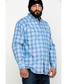 Ariat Men's Coast Blue FR Jett Plaid Long Sleeve Work Shirt, Blue, hi-res
