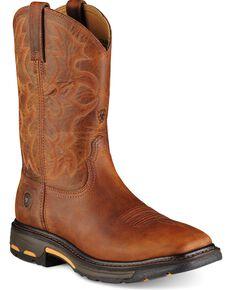 Ariat Workhog Pull-On Work Boots - Steel Toe, Toast, hi-res