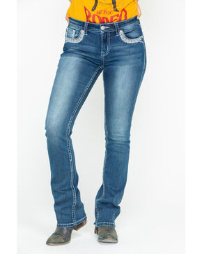 Grace In LA Women's Mid Rise Medium Boot Jeans, Blue, hi-res
