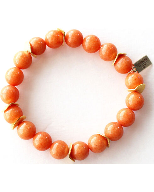 Everlasting Joy Jewelry Women's Tangerine Gold Chip Bracelet , Orange, hi-res