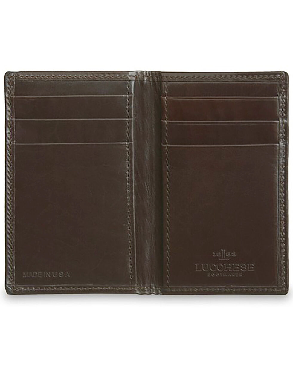 Lucchese Men's Brown Leather Vertical Bi-Fold Wallet, Dark Brown, hi-res
