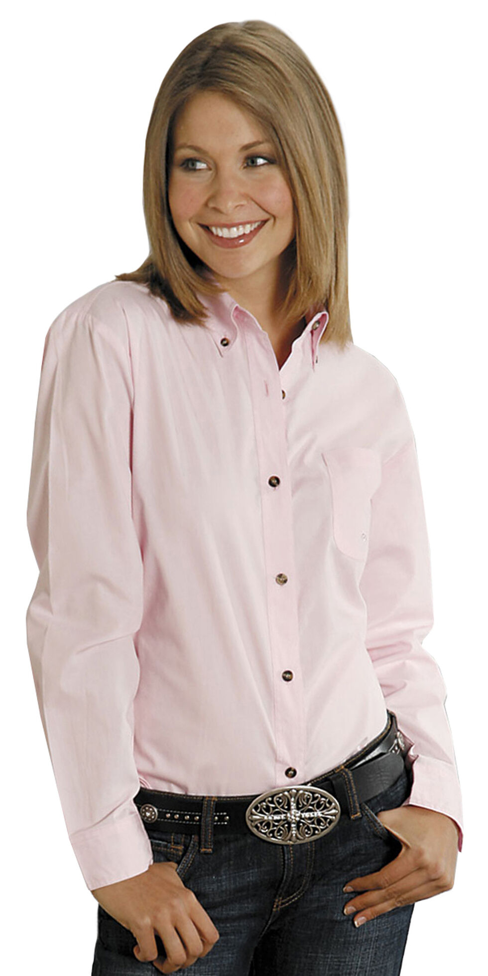 Roper Women's Amarillo Solid Button-Down Poplin Shirt - Plus, Pink, hi-res