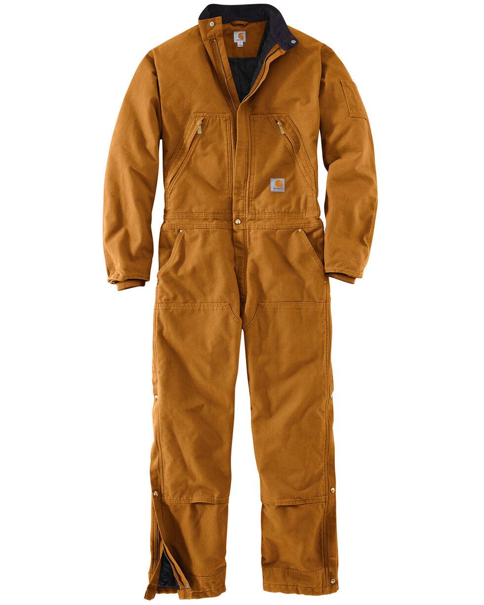 Carhartt Men's X01 Quilt Lined Duck Coveralls , Pecan, hi-res