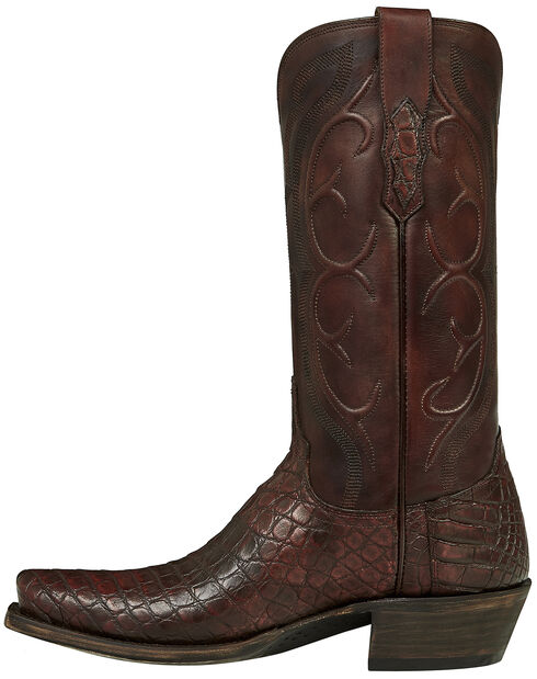 Lucchese Brick Giant Gator Van Cowboy Boots - Square Toe, Dark Brown, hi-res