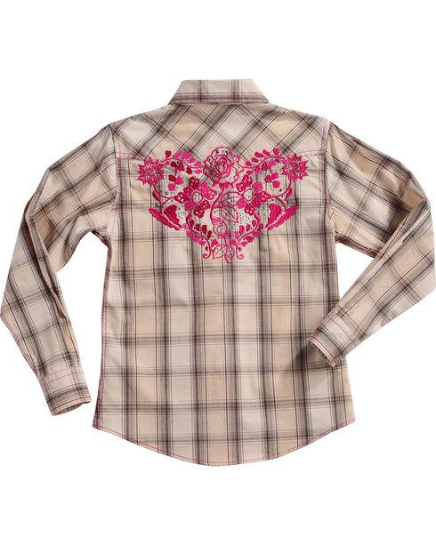 Cowgirl Hardware Girls' Rose Vine Plaid Long Sleeve Shirt, Cream, hi-res