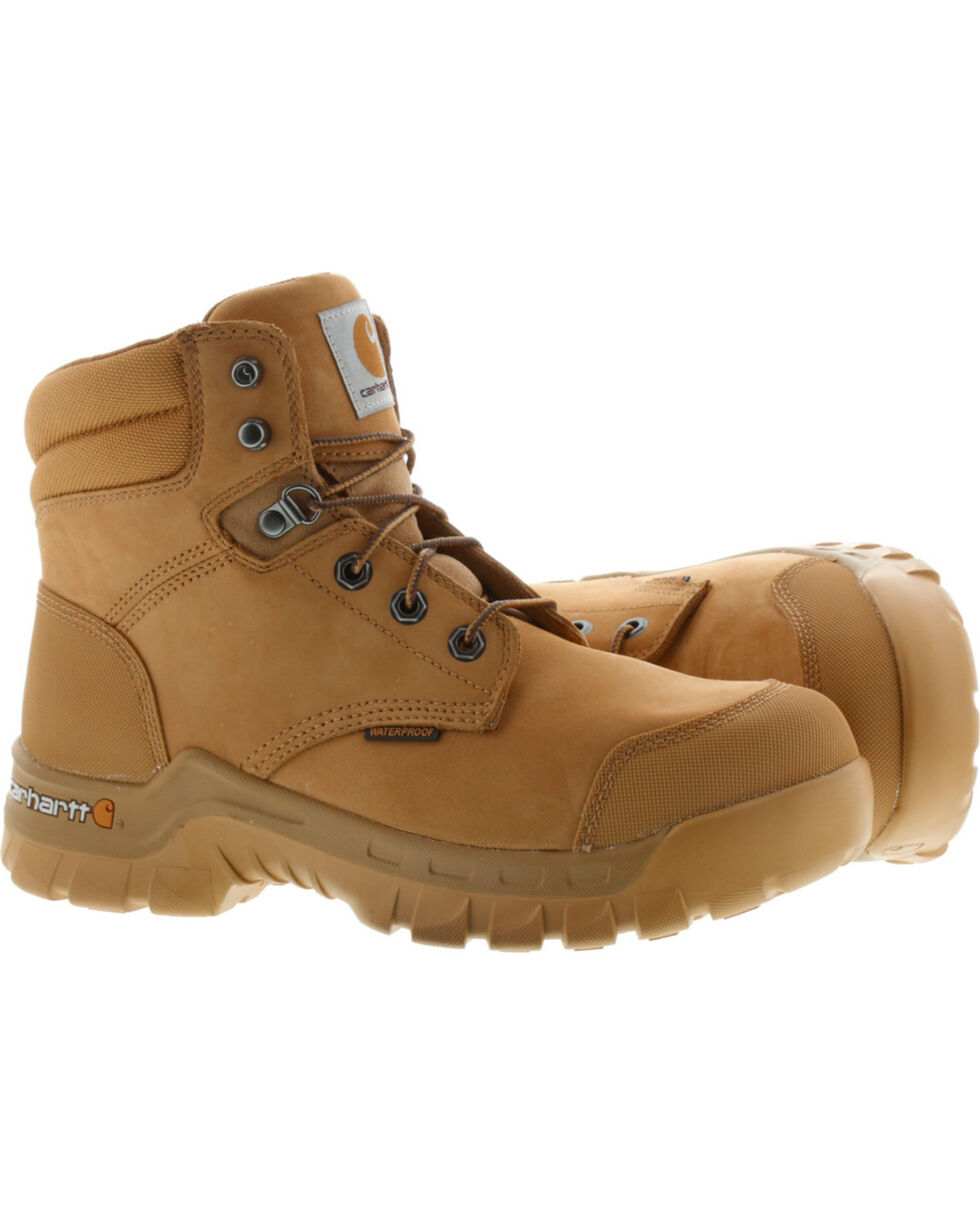 "Carhartt Men's 6"" Wheat Waterproof Rugged Flex Work Boots - Round Toe, Wheat, hi-res"