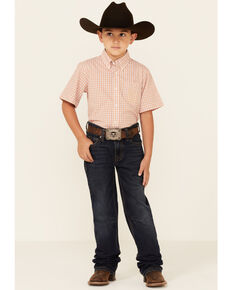 Rock & Roll Denim Boys' Dark Vintage Tan Pocket Reflex Stretch Bootcut Jeans, Dark Blue, hi-res