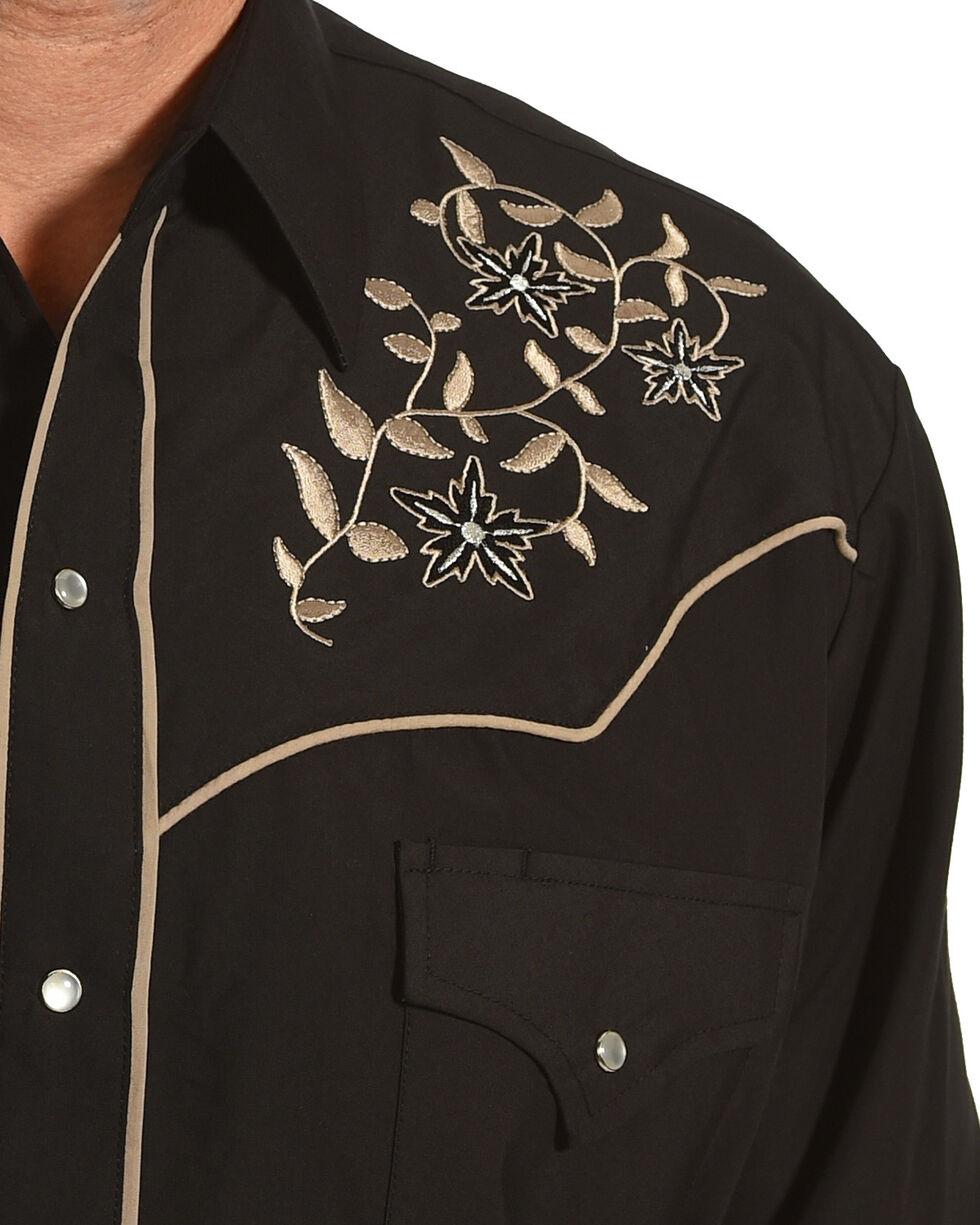 Ely Cattleman Men's Black Floral Vine Embroidered Shirt, Black, hi-res