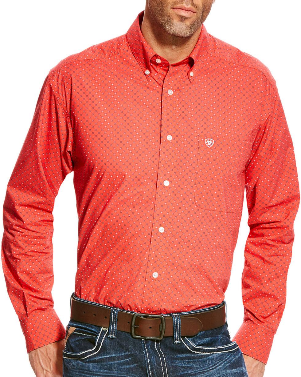 Ariat Men's Alistar Classic Fit Long Sleeve Button Down Shirt - Big & Tall, Red, hi-res