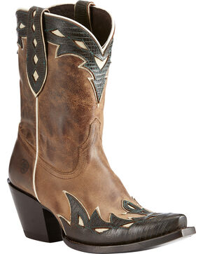 Ariat Women's Light Brown Juanita Western Boots - Snip Toe , Lt Brown, hi-res