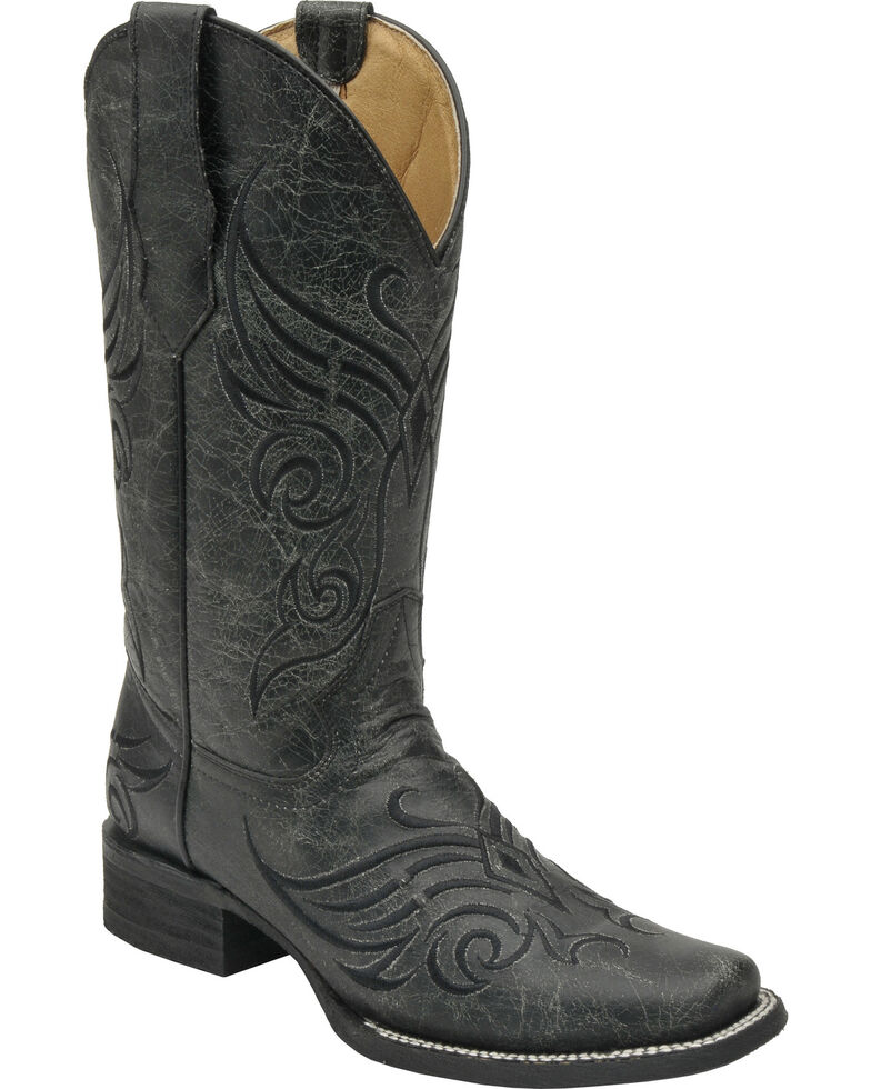 Circle G Women's Crackle Cowgirl Boots - Square Toe, Black, hi-res