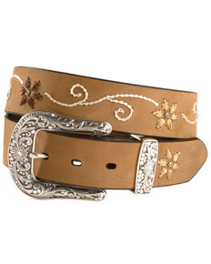 Nocona Floral Stitched Leather Belt, Brown, hi-res