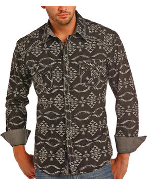 Rock & Roll Cowboy Men's Black Aztec Pattern Long Sleeve Shirt , Black, hi-res