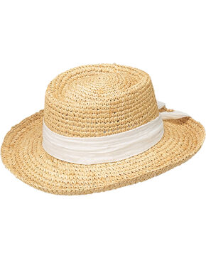 Peter Grimm Gondola White Bow Raffia Straw Sun Hat, White, hi-res