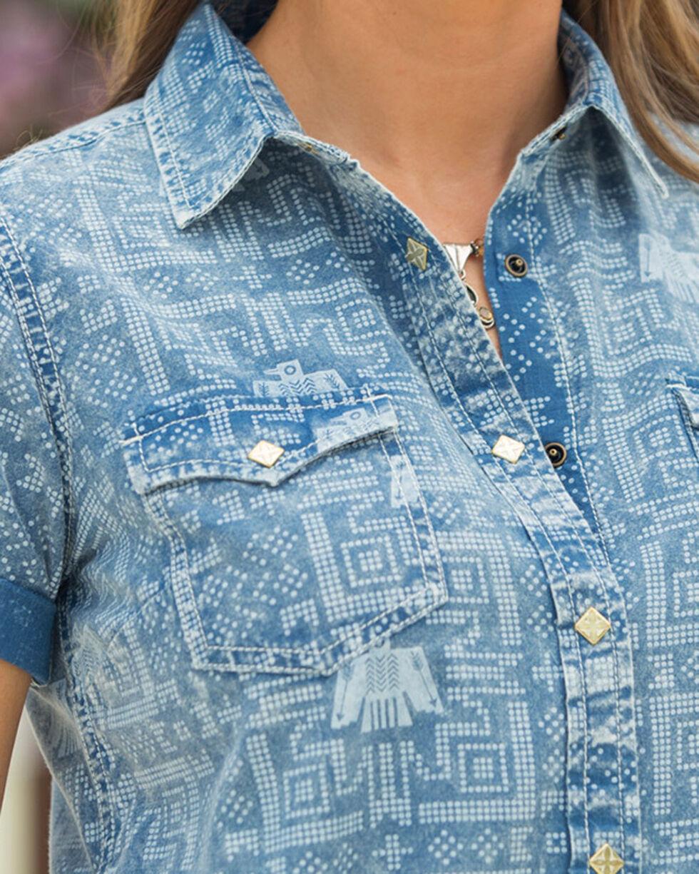 Ryan Michael Women's Indigo Thunderbird Point Print Dress, Indigo, hi-res