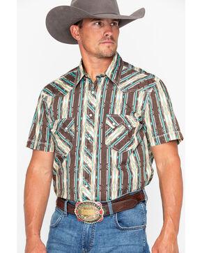 Rock & Roll Cowboy Poplin Aztec Print Short Sleeve Shirt, Brown, hi-res