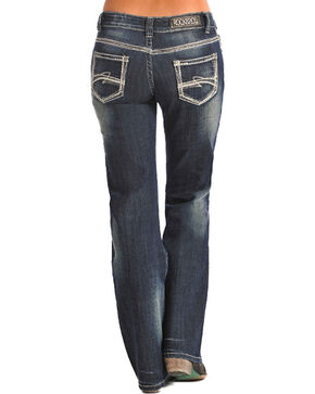 Rock & Roll Cowgirl Women's Blue Riding Vintage Jeans - Boot Cut , Dark Blue, hi-res