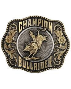 Montana Silvermiths Men's Champion Bull Rider Filigree Framed Belt Buckle, No Color, hi-res