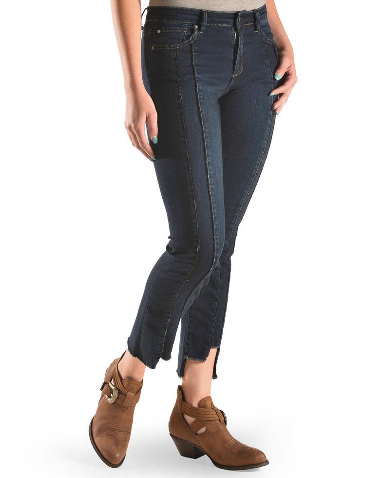 Tractr Women's Front Fray Panel Step Hem Jeans, Indigo, hi-res