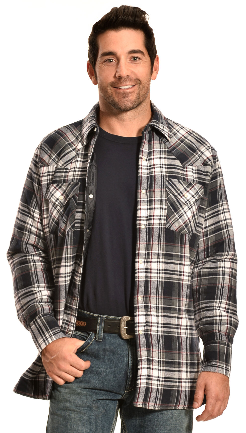 Ely Cattleman Men's Navy Blue Plaid Quilted Flannel Jacket Shirt , , hi-res