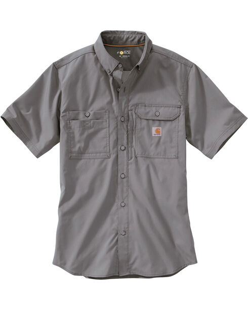 Carhartt Men's Charcoal Grey Force Ridgefield Solid Long-Sleeve Shirt - Big and Tall, Charcoal Grey, hi-res