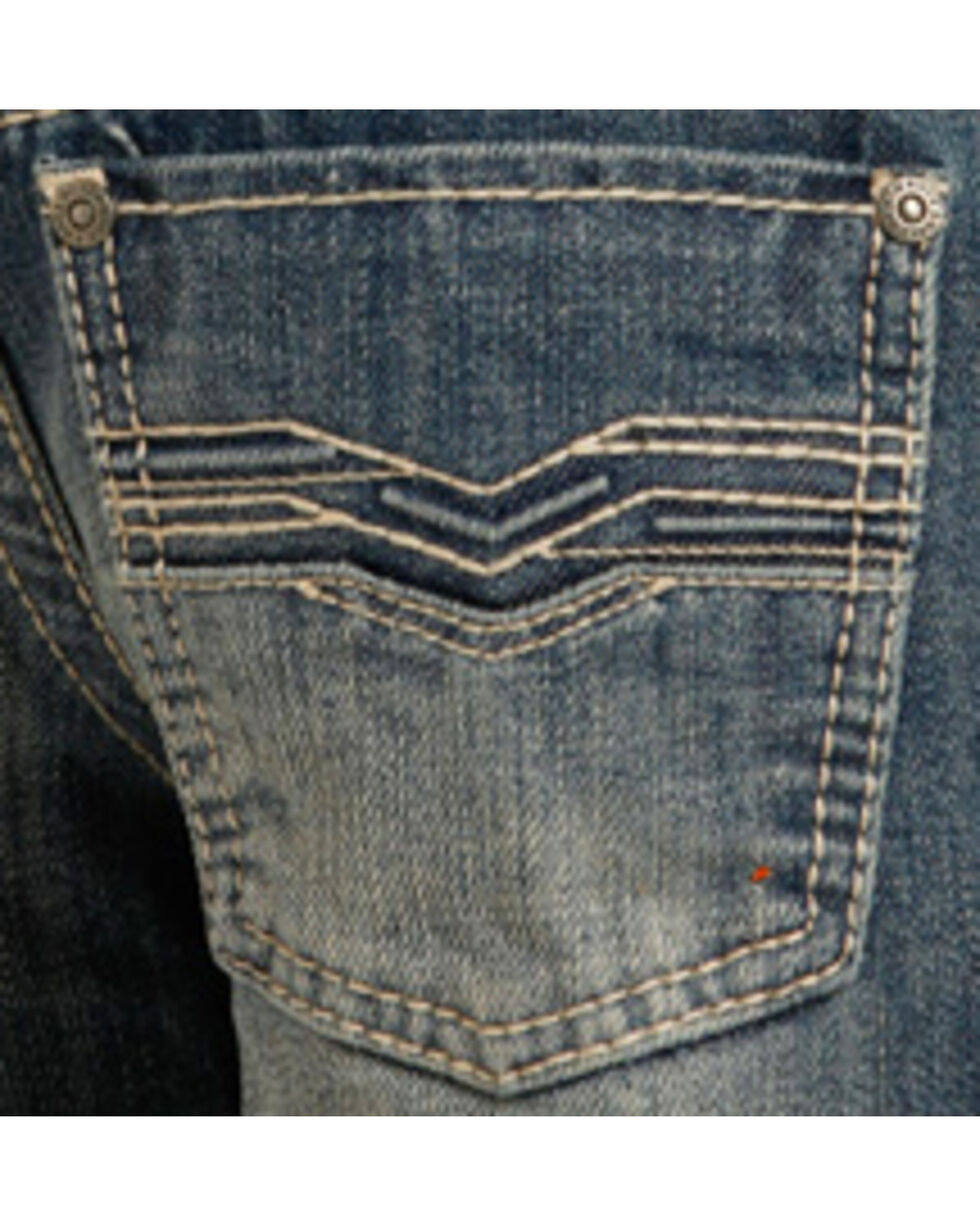 "Rock & Roll Cowboy Boys' Blue ""V"" Design Raised Denim Jeans - Boot Cut , Indigo, hi-res"