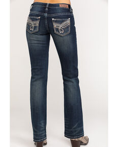 Rock & Roll Cowgirl Women's Dark Wash Riding Bootcut Jeans, Blue, hi-res