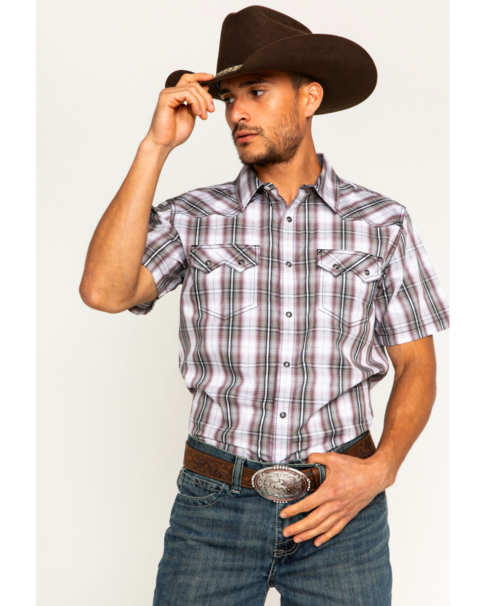 Cody James Men's Plaid Short Sleeve Snap Shirt, White, hi-res