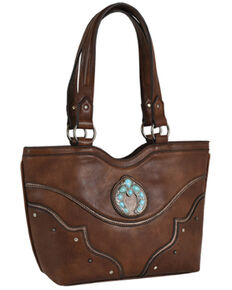 Justin Women's Brown Squash Blossom Concho Concealed Carry Tote, Brown, hi-res