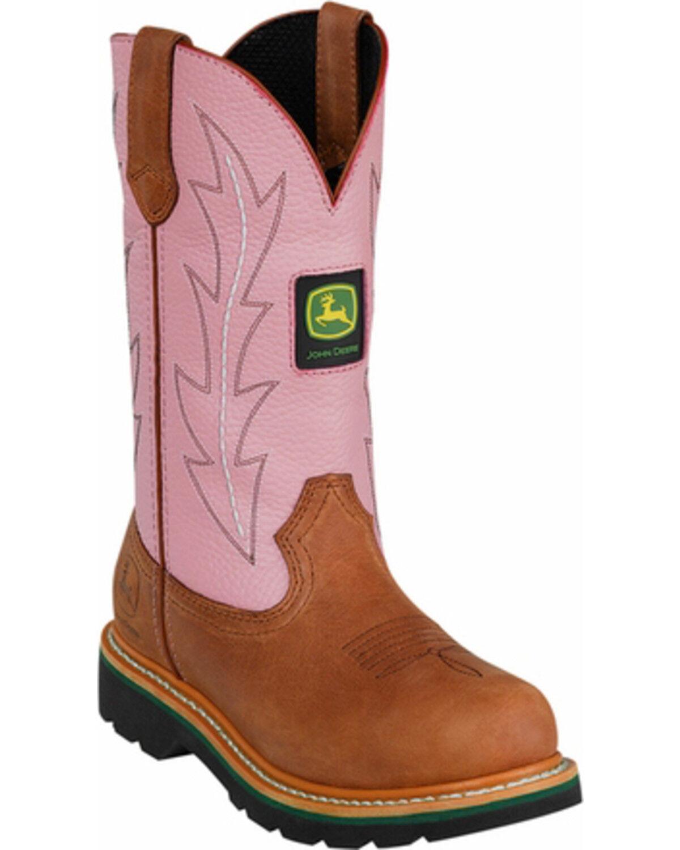 John Deere Womenu0027s Crazyhorse Pink Cowgirl Boots   Round Toe, Tan, Hi Res
