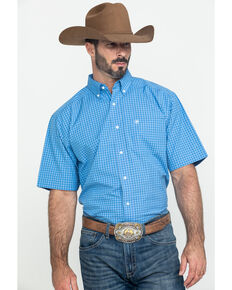 Ariat Men's Glendale Plaid Short Sleeve Western Shirt - Tall , Blue, hi-res