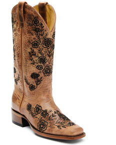 Shyanne Women's Wildflower Western Boots - Square Toe, Honey, hi-res