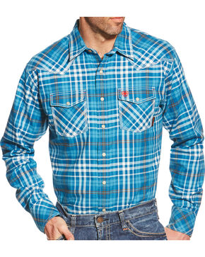 Ariat Men's Turquoise Plaid Toldeo FR Snap Shirt, Turquoise Plaid, hi-res