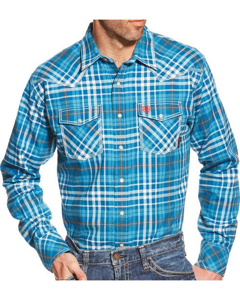 Ariat Men's Turquoise Plaid Toldeo FR Snap Shirt, Turquoise Plaid, hi-res