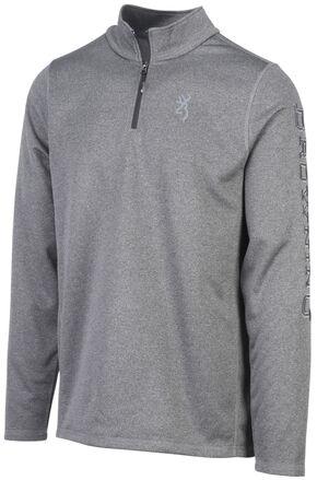 Browning Men's Heather Black Pitch Quarter Zip Pullover , Black, hi-res