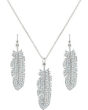 Montana Silversmiths Women's Silver Feather Jewelry Set , Silver, hi-res